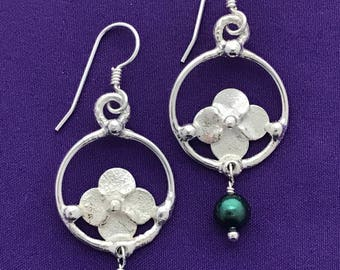 Handmade Flower Earrings - Dangle Botanical Earrings - Hydrangea Blossom Earrings - Handcrafted Blossom Earrings - Teal Pearls