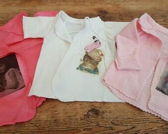 3 vintage german baby vests
