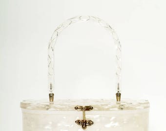 Vintage 1950s lucite purse / Style Rockabilly / 1950s purse / lucite handbag /White Pearlized / Mid century / vlv / 1950s Vintage Handbag