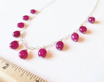 Ruby and Citrine Natural Gemstone Wire Wrapped Necklace with Sterling Silver Jewelry SALE