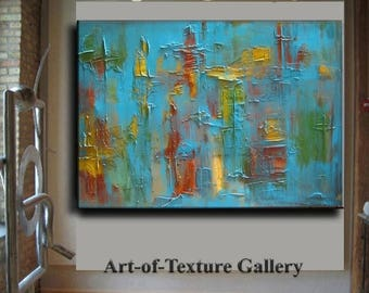 SALE Original Abstract Texture Painting HUGE Modern Aqua Turquoise Gold Red Carved Sculpture Knife Oil Painting by Je Hlobik