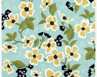 SALE 10% Off - Dogwood Bloom in Pond  JD31 - Joel Dewberry - Modern Meadow - Free Spirit Fabric  - By the Yard