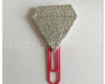 Planner clip, bookmark, planner feltie clip, felt bookmark, diamond feltie clip, big rock, wedding clip, pink paper clip