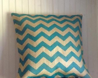 Turquoise Chevron Burlap Pillow Cover, Rustic Burlap Chevron Pillow by sweet janes plan