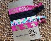 Knotted elastic hair ties – ponytail holders - girl boss, black, multi colored triangles, hot pink with gold unicorns