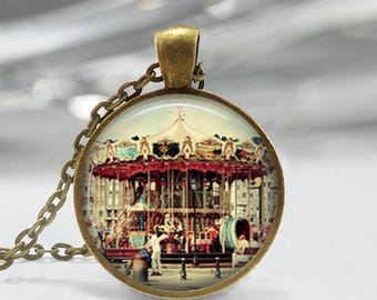 ON SALE Merry Go Round Jewelry Carousel Necklace Amusement Park Carnival Horse Art Pendant in Bronze or Silver with Link Chain Included