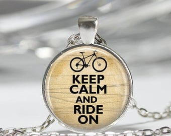 ON SALE Bicycle Necklace Bike Jewelry Keep Calm and Ride On Art Pendant in Bronze or Silver with Link Chain Included
