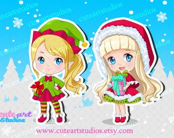 ONE (1) Christmas Chibi Sticker