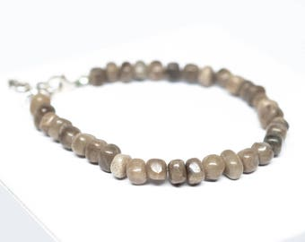 Petoskey Stone Beaded Bracelet - Sterling Silver - Adjustable up to 8""