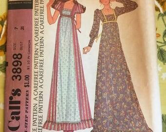 1973 McCall's Sewing Pattern 3898 Misses Short or Long Empire Waist Ruffle Hem Hippie Dress Size 7 cut-boho dress, hippie dress, dress