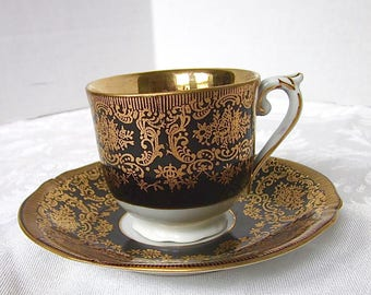 Demitasse Cup, Black, Gold, Cup and Saucer, Royal Czechoslovakia, EPIAG, 1930s