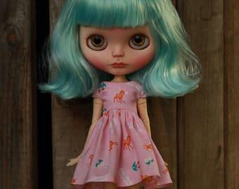 Pink Deer Dress for Blythe Doll