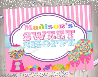 Sweet Shoppe Party Sign Printable Party Sign Sweet Shoppe table sign welcome sign