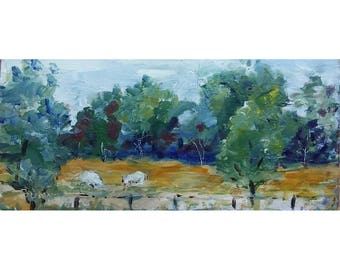 Original acrylic landscape painting 5.5x11.5 meadow,sheep, trees