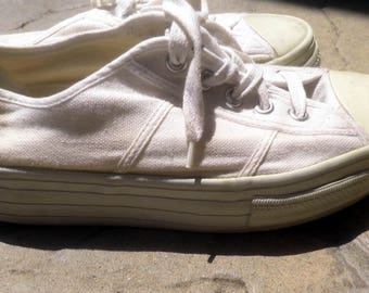 thick-soled White Canvas Tennis Shoes, Women's size 7.5