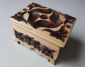 Handmade woode carved box unique