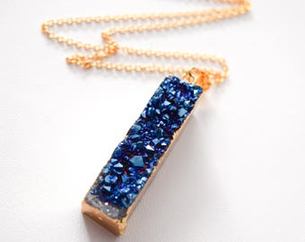 Bar Necklace - Sapphire Crystal Druzy Necklace - Bridesmaid Necklace - Gift For Her