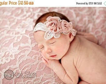 10% SALE Baby headband, newborn headband, adult headband, child headband and  photography prop, Pale,pink chiffon rose sprinkle