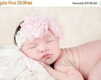 12% off Baby headband, newborn headband, adult headband, child headband and photography prop The single sprinkled- Ruffles and Lace headband