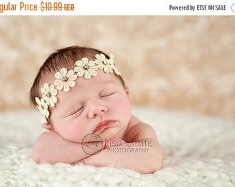 12% off daisy headband, hippie headband, Baby headband, newborn headband, adult headband, child headband photography prop Daisy rhinestone s