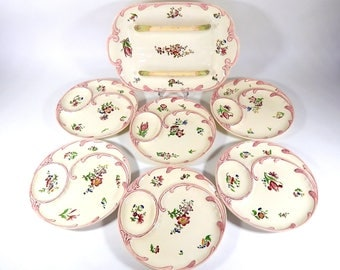 6 French Vintage Majolica Asparagus Plates and Server from Sarreguemines