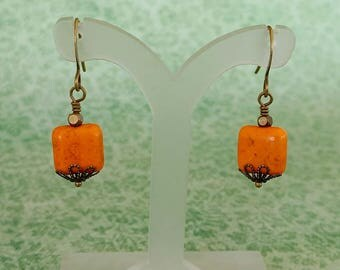 Orange Colored Square Magnesite Earrings With Antiqued Gold Plated Brass, Bronze Accents