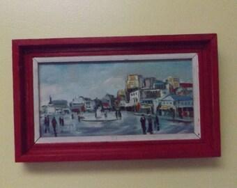 Mid Century Art, Cityscape,oil on canvas. MCM oil painting, Cityscape oil painting, Modern art, wall decor