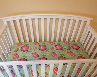 Beautiful floral crib sheet, girl crib sheet made to order