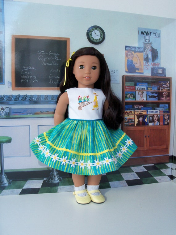 Like American Girl Doll Clothes/ Nanea's Tropical Party Dress/ 18 Inch Doll Clothes by Farmcookies