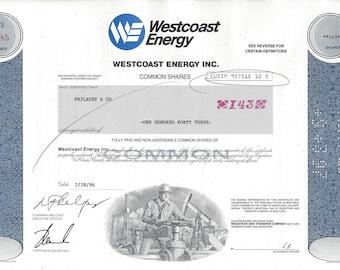 Vintage Westcoast Energy Inc. Original Stock Certificate (blue), 1990s