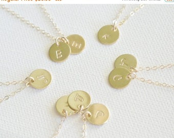 SALE - Personalized Initial Disc Necklace, 1 2 3 4 5 6 7 8 Initial Discs Necklace Personalized Jewelry, 14k GOLD Fill, Monogram Necklace
