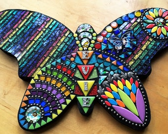"""MOSAIC BUTTERFLY - Your Color Choice - Custom Order,  'Wild & Funky' Style,  Multicolored, Personalized, Glass, Tiles, Beads, Gems (16""""x10"""")"""
