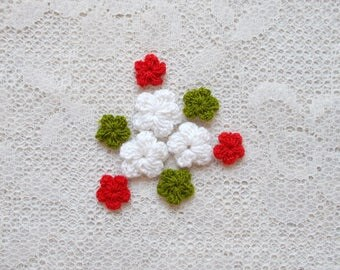 Crocheted flowers, Scrapbooking Embellishment, Wedding, Bridal, Card Making,  Mixed Media, Mini Album, Set of 9