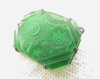 Art Deco Emerald Green Glass Pendant