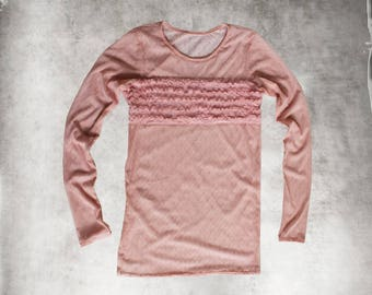 Pink mesh top/stripe ruffle/Women crew neck