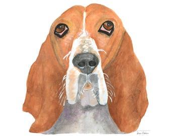 Basset hound dog art print, house pet animal face mugshot picture, illustration, watercolor painting sketchbook art, mud room library decor