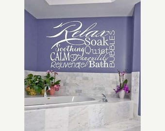 20% OFF Relax Collage - bath bubbles tranquil  calm soak Vinyl Lettering wall  decal words graphics    Art Home decor itswritteninvinyl