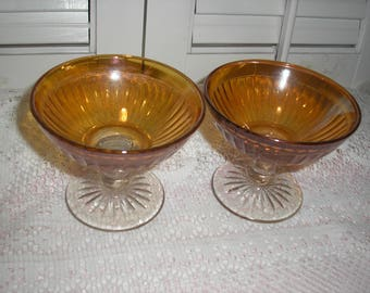 Lot 2 Imperial Glass Smooth Marigold Carnival  Sherbets