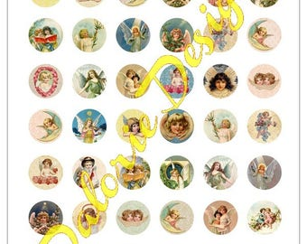 25 mm, Angels - Collage, Digital collage - Angels sheet - for round cabochons