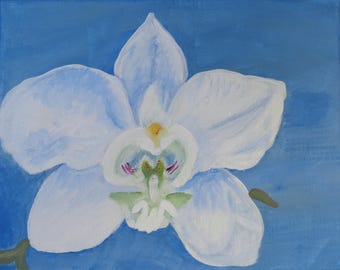 "Orchid Painting, ""First Bloom"" - Paper print of an original painting by Sarah Keinard"