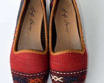 Women Kilim loafer Handmade - Free shipping by DHL-38 Euro size