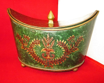 Beautiful, Vintage Metal, Brass, Footed, Crescent Shaped Container, Hand Painted, India, Décor, Exotic, Storage, Stash Box, 9x6