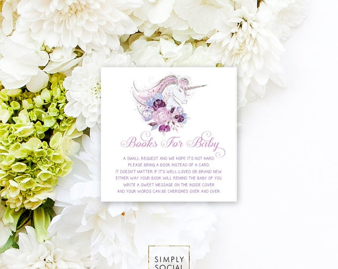 INSTANT DOWNLOAD Unicorn Baby Shower Bring a Book Instead of a Card insert Faux Glitter Baby Shower PRINTABLE