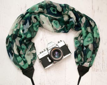 Scarf Camera Strap - Camera Gift - DSLR Camera Strap - Gifts for Photographer - Canon Camera Strap - Green Poppies Scarf - READY to SHIP
