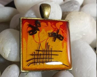 A Night By the Campfire Hand Layered Desert Holographic Enamel Upcycled Reclaimed Treasures Resin Pendant Life After Discard Camping Motif