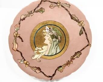 Art Nouveau Jean Pouyat Limoges Plate, Hand Painted Artist Signed, JPL, Limoges France, Antique Porcelain Plate