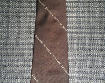 Vintage Firestone Tire Company Tie Brown Men's Necktie Polyester and Silk Made Exclusively for the Firestone Tire & Rubber Co Cleveland Ohio