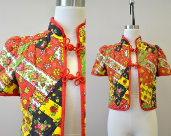 1970s Patchwork Print Quilted Jacket
