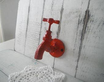 faux faucet hook tap hook red clothing hook wall hook bathroom decor rustic hook rustic decor farmhouse decor industrial decor modern decor