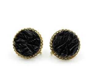 Black Lucite Button Earrings, ca. 1950s